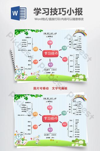 Modèle Word de scribe tabloïd de carte mentale d'étude des compétences Word Modèle DOC