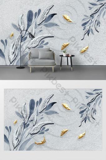 moderno hermoso simple tridimensional hoja de oro y plata geométrico fondo azul pared Decoración y modelo Modelo PSD