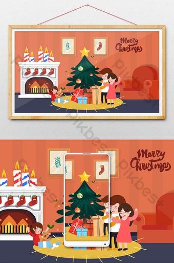 هدايا عيد الميلاد الكرتون للأطفال الديكور الداخلي التوضيح الرسم التوضيحي قالب AI