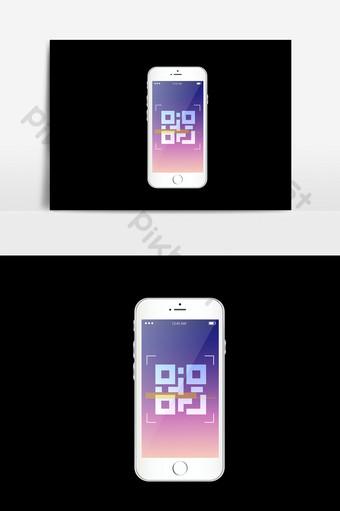 telefono movil codigo qr psd Elementos graficos Modelo PSD