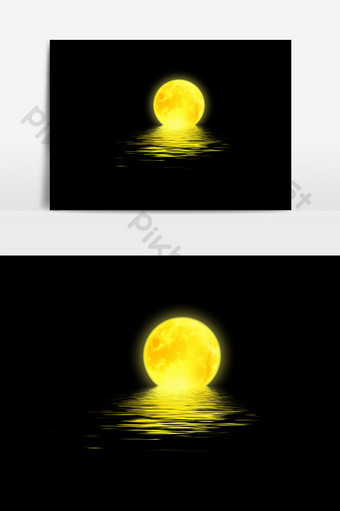 Golden Mid-Autumn Festival Sea Moon PSD PNG Images Template PSD