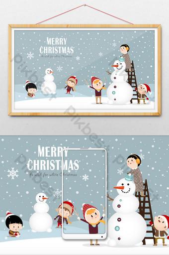 كارتون عيد الميلاد الثلج يتساقط الاطفال صنع رجل ثلج الرسم التوضيحي قالب AI