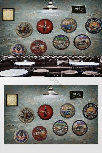 الرجعية النمط الصناعي زجاجة بيرة غطاء جدار شريط الأدوات الخلفية الديكور والنموذج قالب PSD