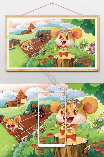 Chat et souris en cours d'exécution livre d'images enfants illustration mignonne Illustration Modèle PSD