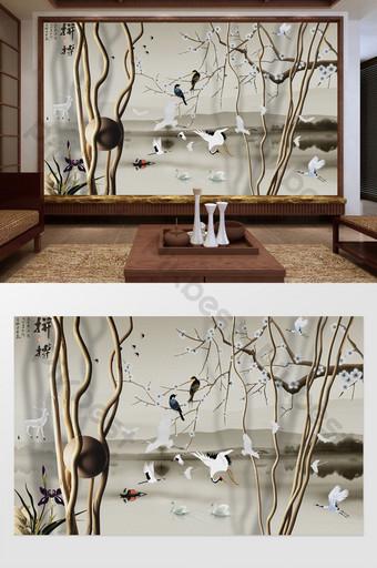 النمط الصيني الأبيض رافعة بجعة زهر البرقوق الجدار الخلفية الديكور والنموذج قالب PSD