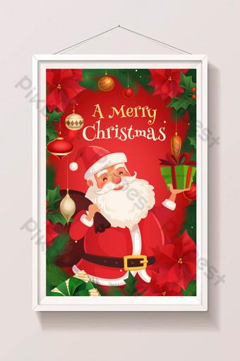 卡通聖誕節聖誕老人給禮物圖 插畫 模板 AI