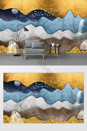 moderno minimalista figura geométrica lámina de oro árbol abstracto cascada luna fondo pared Decoración y modelo Modelo PSD