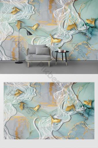 الحد الأدنى الحديثة الحبر اللوحة خطوط مجردة تحلق الطيور التلفزيون خلفية الجدار الديكور والنموذج قالب PSD