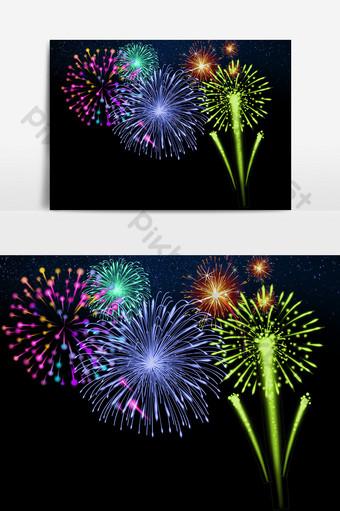 hd coloridos y florecientes fuegos artificiales pirotecnia elementos navideños Elementos graficos Modelo PSD