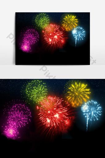 elemento de efecto de decoracion de vacaciones color fuegos artificiales Elementos graficos Modelo PSD