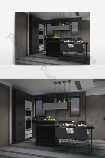مطبخ مفتوح الرياح الصناعية الديكور والنموذج قالب MAX