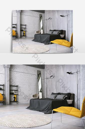 غرفة نوم جدار الاسمنت الصناعي الديكور والنموذج قالب MAX