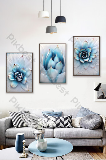 Tableau décoratif triptyque de succulentes en trois dimensions de style nordique minimaliste moderne Décoration et modèle Modèle PSD