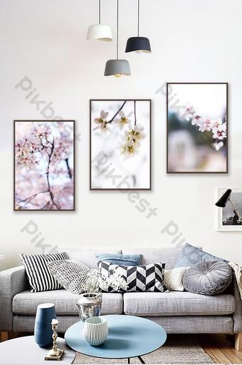 اليابانية الصغيرة الطازجة حالمة رومانسية زهر الكرز غرفة المعيشة الديكور اللوحة الديكور والنموذج قالب PSD