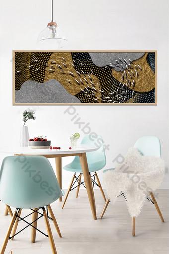 moderno abstracto paisaje tridimensional escuela de peces sala de estar creativa decoración del hotel pintura Decoración y modelo Modelo PSD
