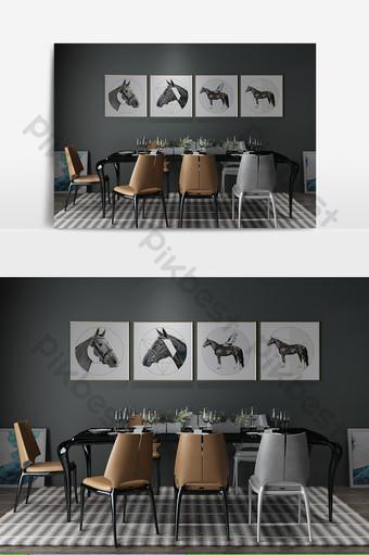 طاولة طعام رمادية بسيطة تتسع لثمانية أشخاص الديكور والنموذج قالب MAX