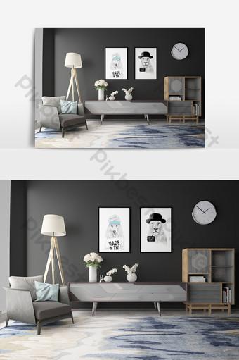 mueble de piso gris modelo de sala de estar simple Decoración y modelo Modelo MAX