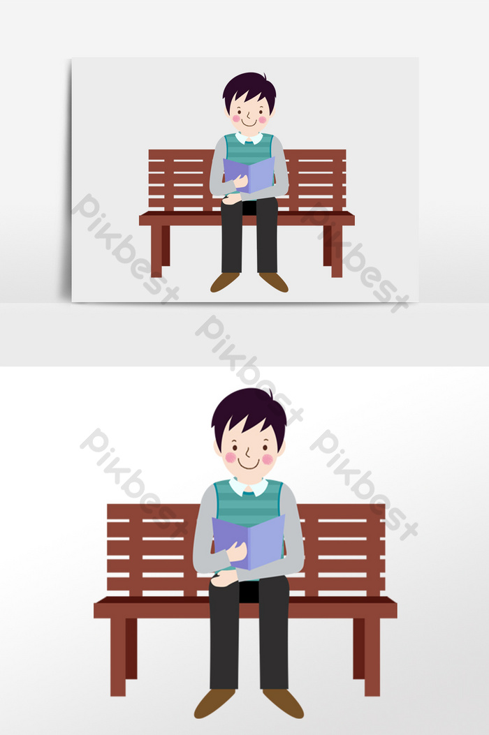 Outstanding Cute Cartoon Schoolboy Sitting On A Chair Reading A Book Gmtry Best Dining Table And Chair Ideas Images Gmtryco