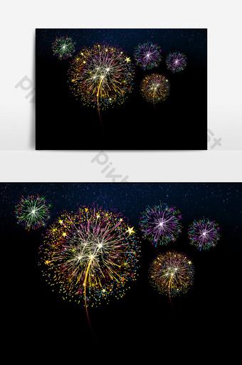 elementos de efecto festivo floreciendo coloridos fuegos artificiales hd Elementos graficos Modelo PSD