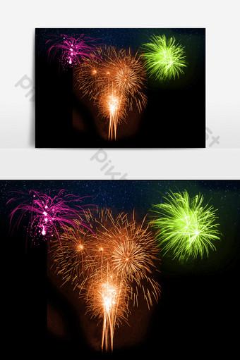 Fuegos artificiales coloridos y hermosos con elementos de efecto navideño de alta definición. Elementos graficos Modelo PSD