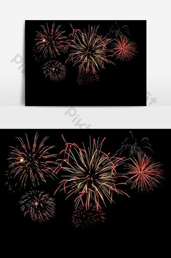 Fuegos artificiales coloridos y coloridos con elementos de efecto festivo floreciendo Elementos graficos Modelo PSD