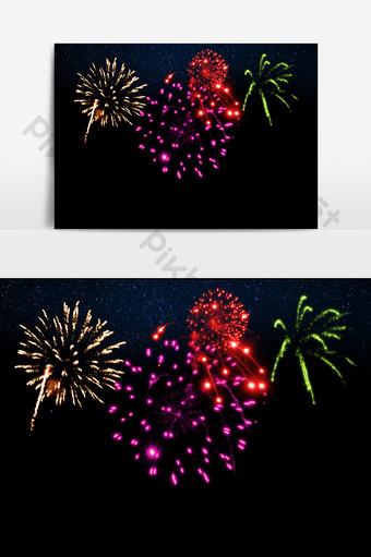 hd festival elementos de efecto pirotécnico de fuegos artificiales hermosos y brillantes Elementos graficos Modelo PSD