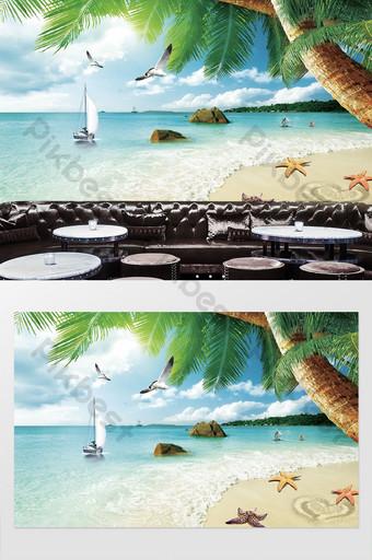 الحديث النفط اللوحة جميلة جوز الهند غابة البحر دولفين قذيفة التلفزيون خلفية الجدار الديكور والنموذج قالب PSD