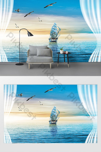 modern watercolor oil painting sea sailing big goose tv background wall Decors & 3D Models Template PSD