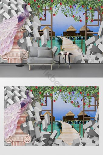 الحديثة 3d جدار من الطوب جميلة الطاووس روز فراشة المشهد خلفية الخريطة الديكور والنموذج قالب PSD