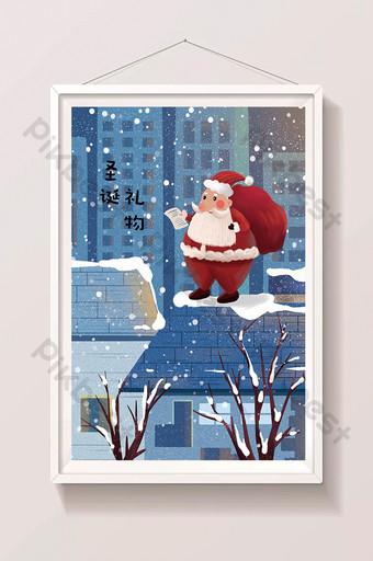 escena de nieve de invierno navidad santa claus dando regalos ilustración Ilustración Modelo PSD