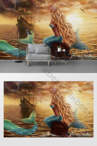 drawing oil painting beautiful sea beauty sailing mermaid tv background wall Decors & 3D Models Template PSD