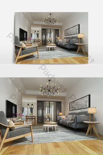 modelo de sala de estar simple con piso de madera maciza Decoración y modelo Modelo MAX