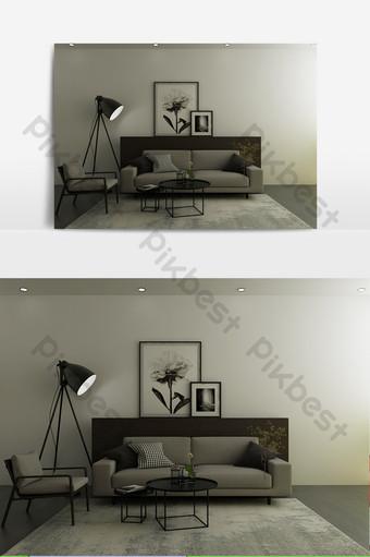 أبيض وأسود رمادي مخصص نموذج غرفة المعيشة الحد الأدنى الديكور والنموذج قالب MAX