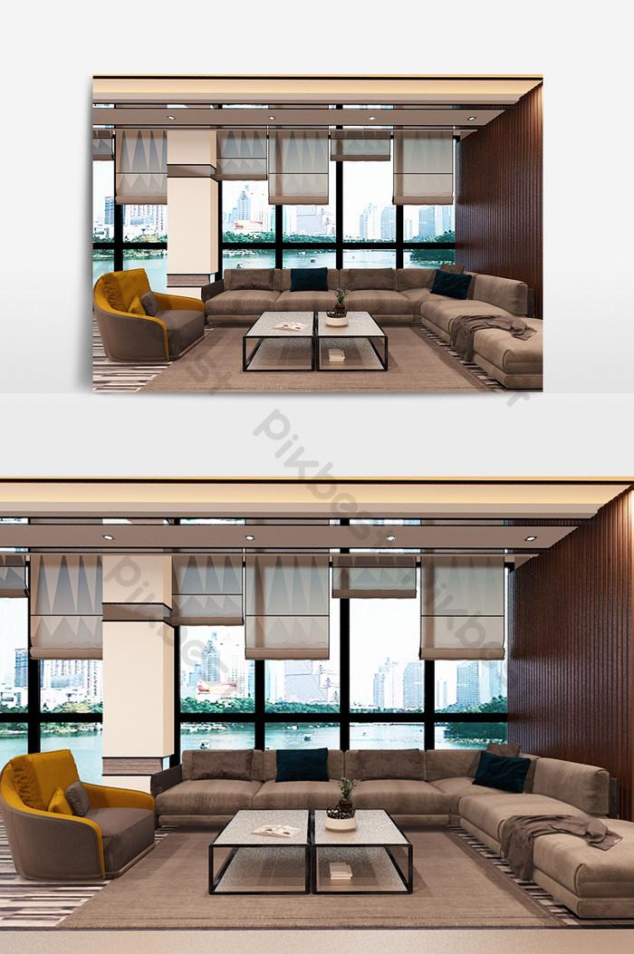 Modèle de salon simple et élégant de mur de fond en bois massif ...