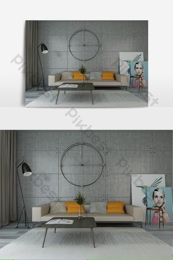 نموذج غرفة المعيشة الحديثة الحد الأدنى البرتقالي الرمادي الديكور والنموذج قالب MAX