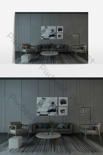 غرفة المعيشة غرفة الطعام رمادي بسيط نموذج الديكور والنموذج قالب MAX