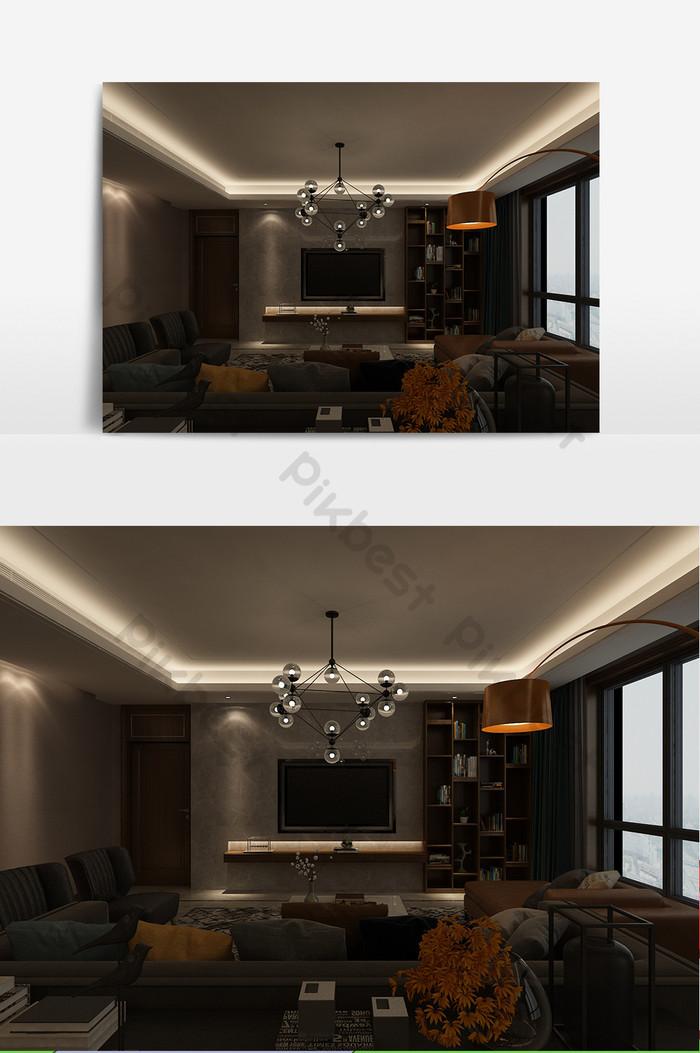 Modèle de vue nocturne personnalisé de salon simple ...