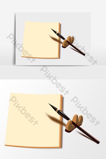 Stylo et encre de style chinois peint à la souris sur papier Éléments graphiques Modèle PSD