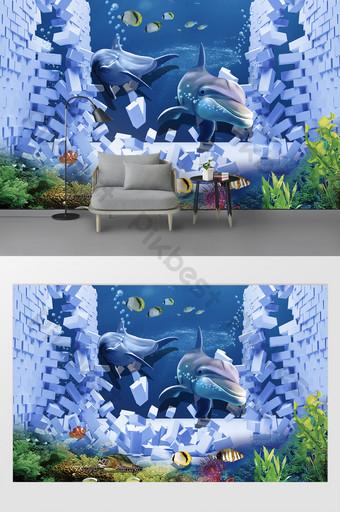 벽을 뚫고 바다 세계 어린이 방 배경에서 3D 침입 데코 & 3D 모델 템플릿 PSD