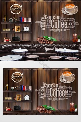 مكتب الرجعية الحنين coffeeeee شريط خلفية الجدار الديكور والنموذج قالب PSD