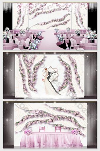 الوردي الأرجواني رومانسية زهرة البحر موضوع تأثير الزفاف الصورة الديكور والنموذج قالب PSD
