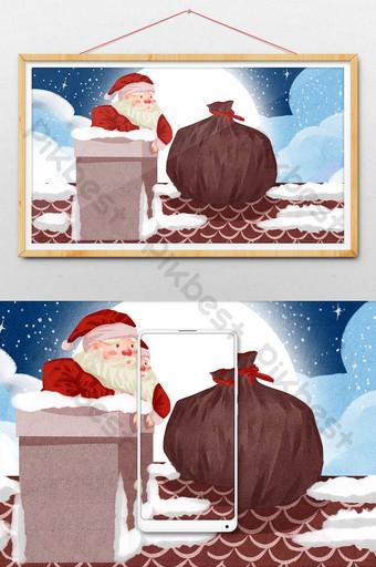 noche navidad santa claus escalando chimenea para regalar ilustración Ilustración Modelo PSD