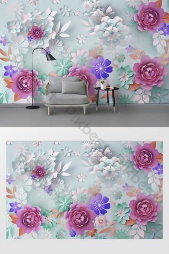dinding latar belakang bunga modern baru Dekorasi dan model Templat PSD