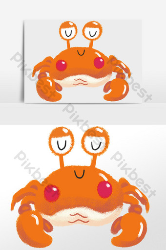 drawing seafood cartoon sleeping crab illustration element PNG Images Template PSD