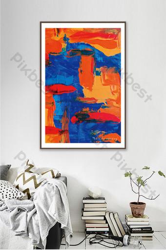 moderno estilo minimalista rojo y azul pintura al óleo abstracta decoración de la sala de estar Decoración y modelo Modelo PSD