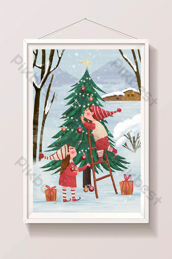 christmas tree in the snow drawing illustration poster Illustration Template PSD