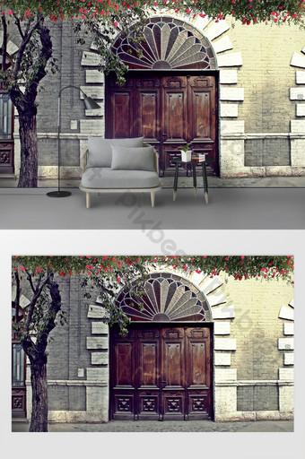 الحنين روز زهرة كرمة استوديو الصور خلفية الجدار التخصيص الديكور والنموذج قالب PSD