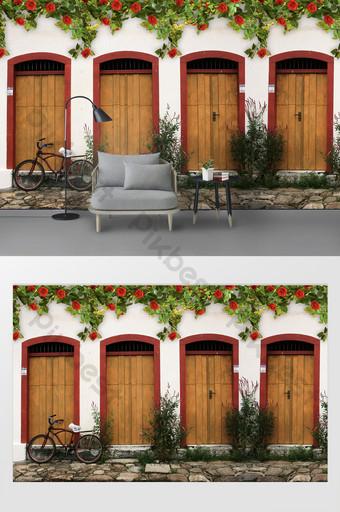 الحنين زهرة زهرة كرمة الباب والنافذة جدار خلفية استوديو الصور الديكور والنموذج قالب PSD