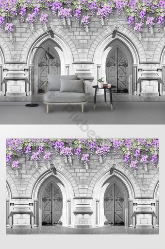 الرجعية الحنين زهرة كرمة القلعة استوديو الصور خلفية الجدار الديكور والنموذج قالب PSD