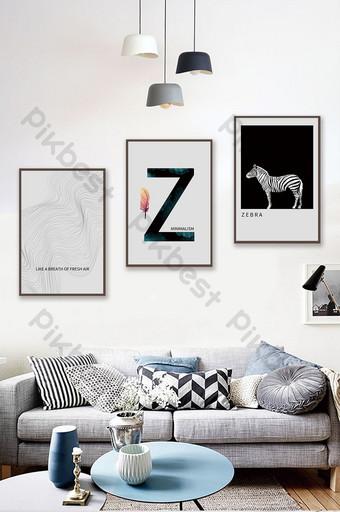 簡約歐式抽象線條斑馬創意水晶瓷器客廳臥室裝飾畫 裝飾·模型 模板 PSD